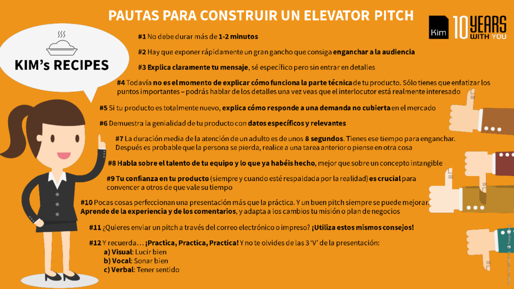 KIM's Recipe 3: Pautas para construir un Elevator Pitch