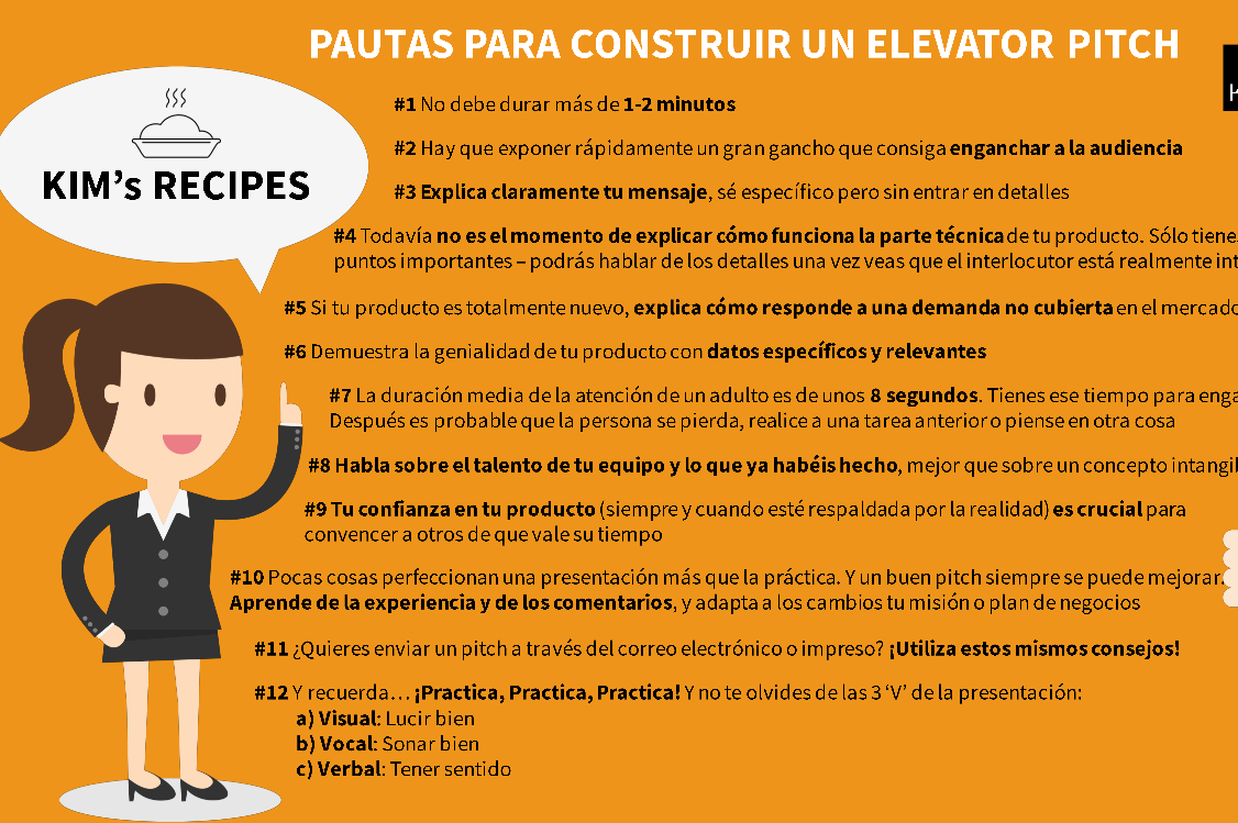 RECIPE · Pautas para construir un Elevator Pitch