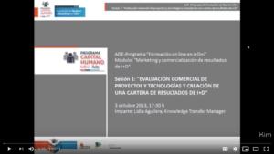 """Sesión 1 Programa ADE: """"Formación on-line en I+D+i"""""""